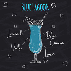 Simple recipe for an alcoholic cocktail Blue Lagoon. Drawing chalk on a blackboard. Vector illustration of a sketch style.