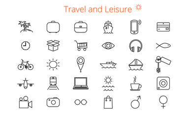 Set of thirty vector flat line icons for a site or booklet about travel and leisure