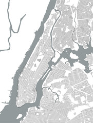vector map of the New York City NY Manhattan, USA