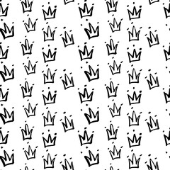 Sketch crown, vector hand drawn seamless pattern, monochrome minimalistic hand drawn background