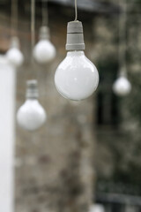 Multiple hanging light bulbs