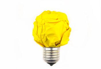 Inspiration concept crumpled paper light bulb metaphor for good idea