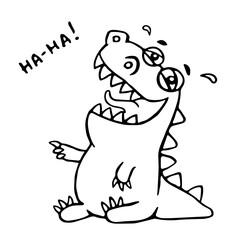 Laughing dinosaur. Vector illustration