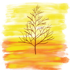 Colorful abstract drawn bright tree on for greeting card or advertisement on the yellow and orange background, isolated cartoon illustration  painted by watercolor and acrylic paint, high quality