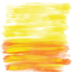 Colorful abstract hand drawn brushstrokes in orange and yellow color on white background, isolated illustration painted by acrylic color, high quality