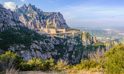 View of the monastery in Montserrat Mountain, Spain