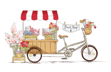 Flower shop on bicycle./ Vector illustration on the theme of traditional trad.