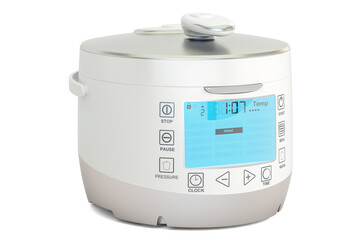 White Automatic Multicooker, 3D rendering