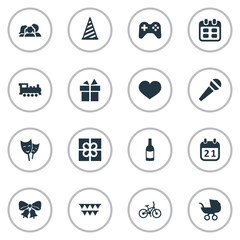 Vector Illustration Set Of Simple Birthday Icons. Elements Game, Domestic, Box And Other Synonyms People, Joystick And Sport.