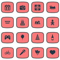 Vector Illustration Set Of Simple Holiday Icons. Elements Cap, Aerostat, Days And Other Synonyms Sweetmeat, Kid And Heart.