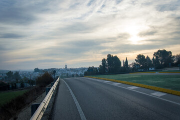 Andalusian landscape at sunrise in Spain on a day in spring