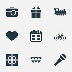 Vector Illustration Set Of Simple Celebration Icons. Elements Soul, Ribbon, Bicycle And Other Synonyms Feelings, Decorations And Speech.