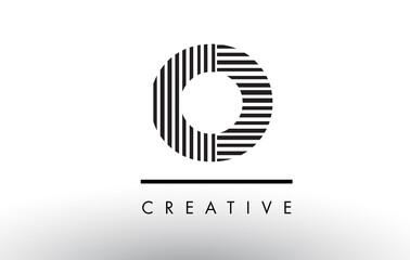 O Black and White Lines Letter Logo Design.
