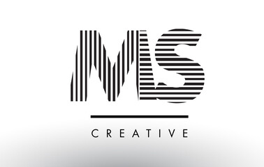MS M S Black and White Lines Letter Logo Design.