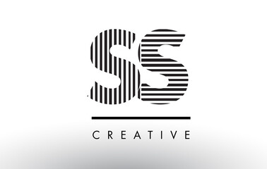 SS S S Black and White Lines Letter Logo Design.