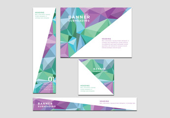 Four Web Banners with Pastel Geometric Patterns