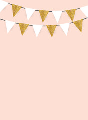 Party Background with Golden Glitter  Flags Vector Illustration