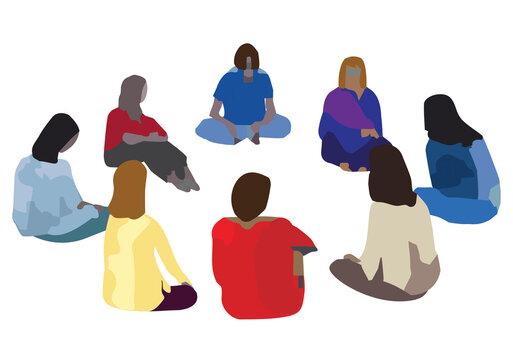 Women sitting in circle meeting