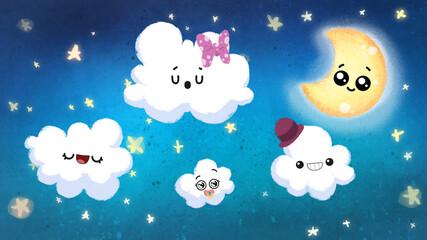 Cielo infantil de noche con nubes, estrellas y luna con ojos