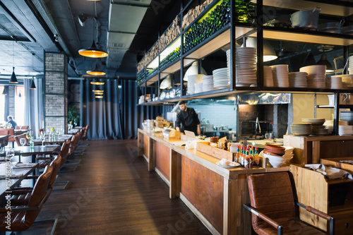 modern loft style restaurant decoration with hanging light ...