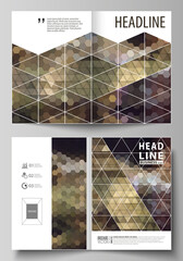 Business templates for bi fold brochure, magazine, flyer, booklet, report. Cover design template, vector layout in A4 size. Abstract backgrounds. Geometrical patterns. Triangular and hexagonal style.