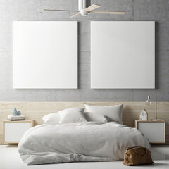 Mock up posters in bedrooms, 3d illustration