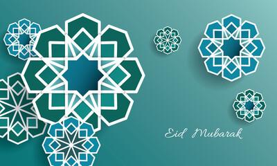 Eid mubarak greeting card design in islamic decoration. Geometry art, Crescent moon and Arabic lantern. Eid mubarak - Glorious month of Muslim year.