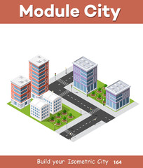 City isometric of urban infrastructure business. Vector building illustration of skyscraper and collection of urban elements architecture, home, construction, block and park