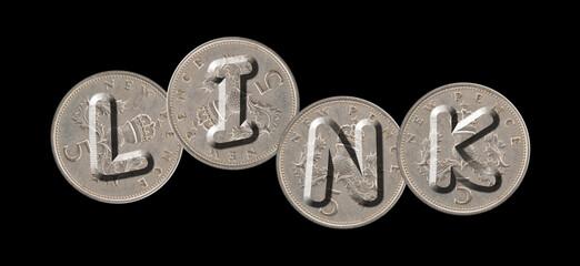 LINK – Coins on black background