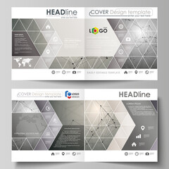 Business templates for square design bi fold brochure, flyer, booklet. Leaflet cover, abstract vector layout. Chemistry pattern, molecule structure on gray background. Science and technology concept.