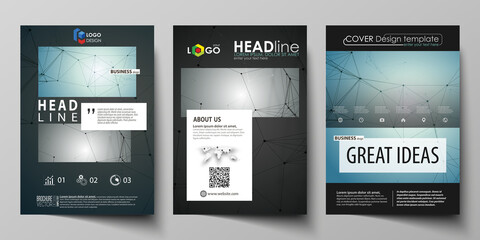 Business templates for brochure, magazine, flyer, booklet, report. Cover design template, vector layout in A4 size. Geometric background. Molecular structure. Scientific, medical, technology concept.