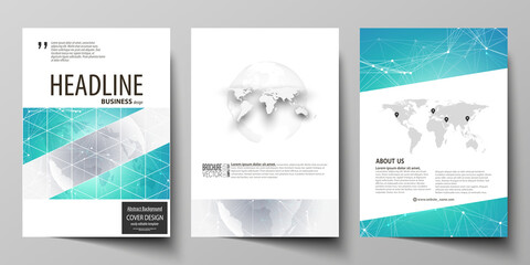 The vector illustration of editable layout of three A4 format modern covers design templates for brochure, magazine, flyer, booklet. Chemistry pattern. Molecule structure. Medical, science background.
