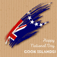 Cook Islands Independence Day Patriotic Design. Expressive Brush Stroke in National Flag Colors on kraft paper background. Happy Independence Day Cook Islands Vector Greeting Card.