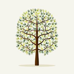 Wall Mural - Green hand print tree environment illustration