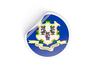 Flag of connecticut, US state round sticker