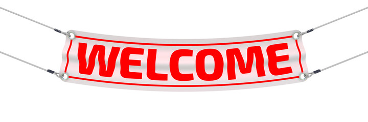 """Welcome. Advertising banner with inscriptions """"WELCOME"""". Isolated. 3D Illustration"""