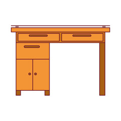 colorful graphic of wooden home desk with drawers with dark red line contour vector illustration