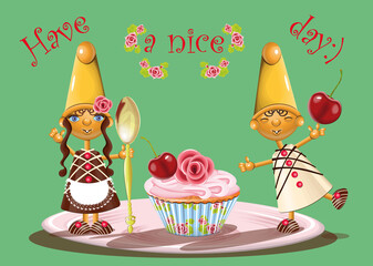vector illustration with funny dwarfs couple made of chocolate and caramel with spoon, cherry  and a cupcake on a plate