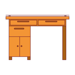 colorful graphic of wooden home desk with dark red line contour vector illustration