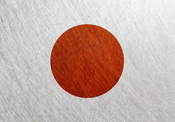 Japan flag, vintage, retro, scratched, Steel  background. Rising sun country
