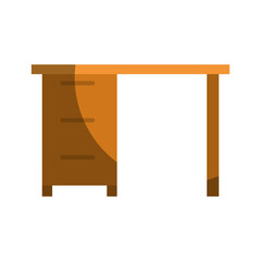colorful graphic of wooden office desk with drawers without contour and half shadow vector illustration