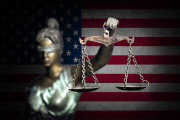 Lady justice with U.S flag background