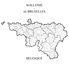 Detailed map of the Belgian Regions of Wallonia and Brussels-Capital (Belgium) with borders of municipalities, districts, provinces, and regions. Vector illustration