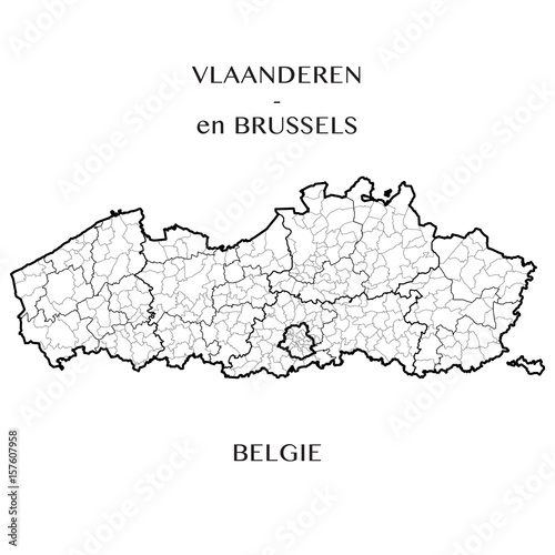 detailed map of the belgian regions of flanders and brussels capital belgium with