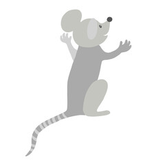 Mouse character with arms raised, back view