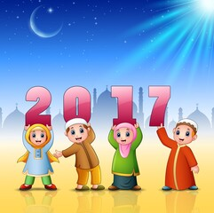 Happy kids celebrate islamic new year with mosque background