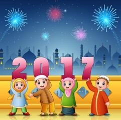 Happy kids celebrate islamic new year with mosque and fireworks background