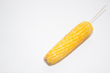 Sweet corn with a white backdrop