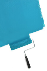 Paint Roller Painting Wall with Blue