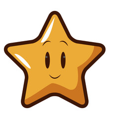 cute kawaii star face emoticon character vector illustration